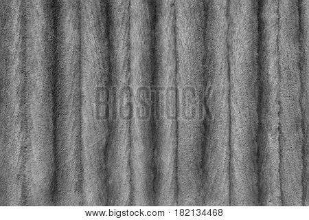 the textured background of a natural fur product of silvery color with strips