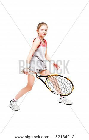 Girl tennis player standing isolated on white background