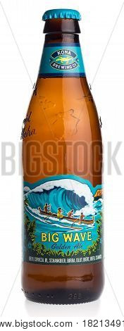 GRONINGEN, NETHERLANDS - APRIL 15, 2017: Bottle of American Hawaiian Kona Big Wave beer isolated on a white background
