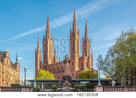View at the Markt church from Market place in Wiesbaden