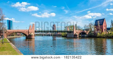 Old Bridge with Portikus over river Main in Frankfurt am Main
