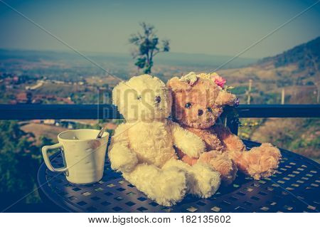 Vintage tone image of two beautiful doll sitting on table with a cup of coffee in the morning nature background. Concept teddy bears couple with love for valentine day. Greeting or gift card design.