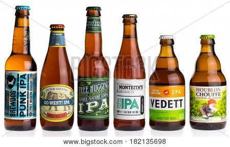 Collection of Brewdog Anchor Flying GRONINGEN, NETHERLANDS - APRIL 15, 2017: Collection of Brewdog, Anchor, Flying Dutchman, Monteiths, Vedett and La Chouffe Indian Pale Ale beers isolated on a white backgroundMonteiths Vedett and La Chouffe Indian Pale A