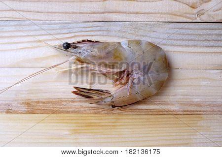 Fresh Whiteleg Shrimp, Pacific White Shrimp On Wooden, Close Up.
