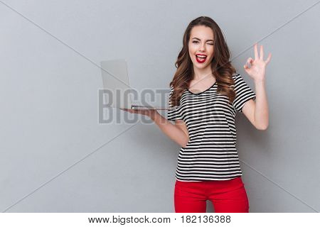 Picture of happy young lady standing over grey wall and using laptop computer while make okay gesture. Looking at camera.