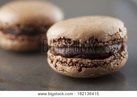 two chocolate macaroons