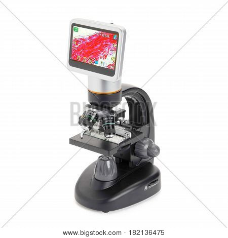 Digital Compound Microscope With Lcd Touchscreen Isolated On White Background. Medical And Science E