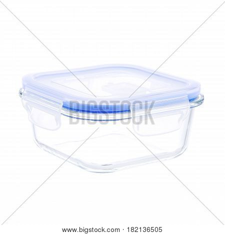 Empty Glass Food Container With Vacuum Seal Lid Isolated On White Background