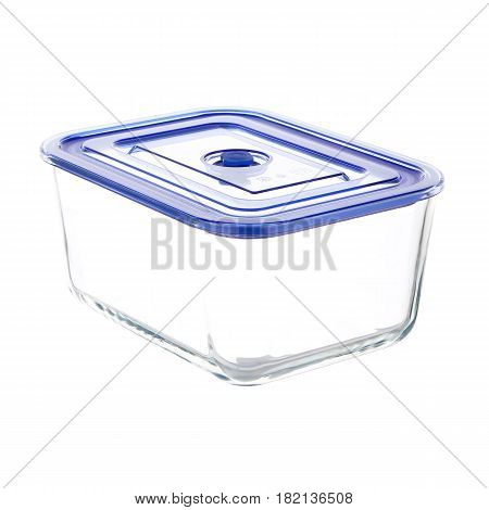 Empty Rectangle Food Storage Container With Vacuum Seal Lid Isolated On White Background