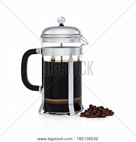 Glass French Coffee Press With Coffee Beans Isolated On White Background. Stainless Steel Coffee Mak