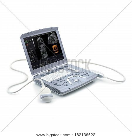 Portable Ultrasound Machine Isolated On White Background. Medical Diagnostic Equipment. Sonogram Mac