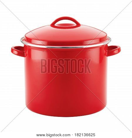Red Enamel Coating Nonstick Stockpot With Lid Isolated on White Background. Cooking Pots. Cooking Pan
