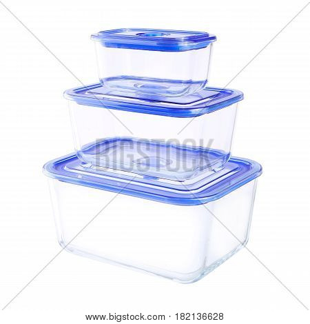 Set Of Three Empty Glass Food Container With Vacuum Seal Lid Isolated On White Background