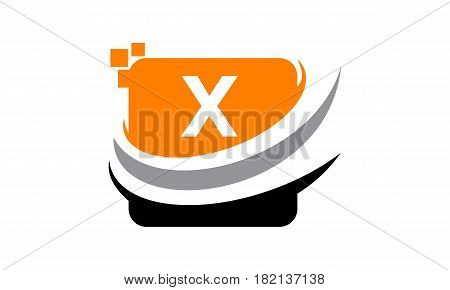 This vector describe about Logo Technology Motion Synergy Initial X