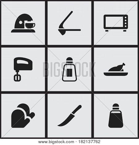 Set Of 9 Editable Food Icons. Includes Symbols Such As Fried Chicken, Cup, Sword And More. Can Be Used For Web, Mobile, UI And Infographic Design.