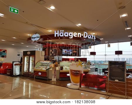 BANGKOK THAILAND - MARCH 30 : Haagen Dazs store at Central Chaengwattana department store on March 30 2017 in Bangkok Thailand.