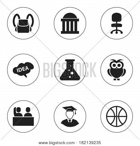 Set Of 9 Editable University Icons. Includes Symbols Such As Diplomaed Male, Chemistry, Night Fowl And More. Can Be Used For Web, Mobile, UI And Infographic Design.