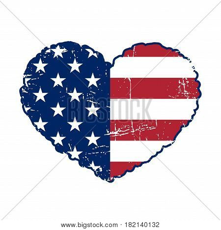 American flag heart shaped on white background. Patriotic USA emblem typography Graphics. National printing design. Grunge style. Symbol of celebrate Independence Day America. Vector illustration