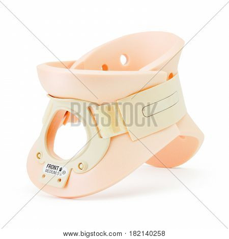 Cervical Collar Isolated On White Background. Paediatric Rigid Tracheostomy Collar For Paediatric Us