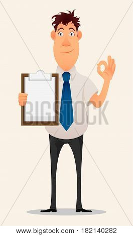 Business man cartoon character. Smiling businessman in office shirt and trousers holding blank clipboard and showing OK gesture - stock vector