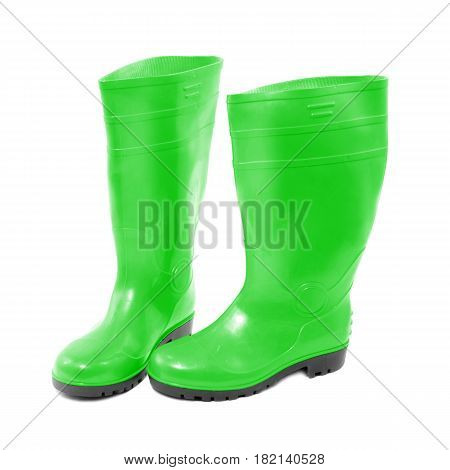 Green Rubber Boots Isolated On White Background. Rubber Shoes