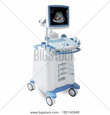 Mobile Ultrasound Machine With Doppler Isolated On White Background. Medical Device. Portable Ultras