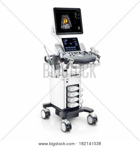 Portable Ultrasound Machine Isolated On White Background. Medical Diagnostic Equipment. Clipping Pat