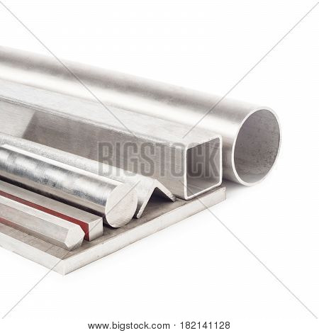 Set Of Stainless Steel Metal Pipes Isolated On White Background. Circular And Square Tubes And Pipes