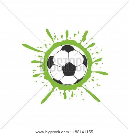 Football Soccer ball with green paint splashes