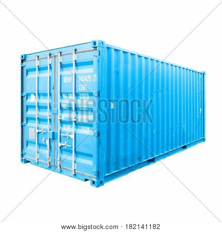 Trailer Storage Container Isolated On White Background. Blue Cargo Container Or Shipping Container F