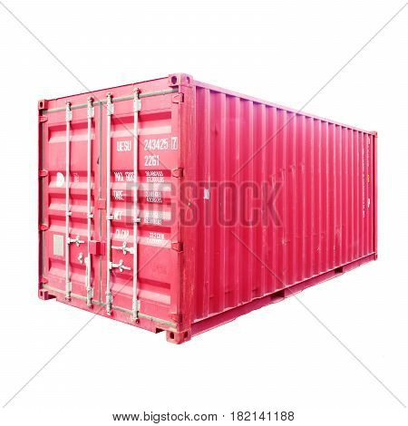 Trailer Storage Container Isolated On White Background. Cargo Container Or Shipping Container For Lo
