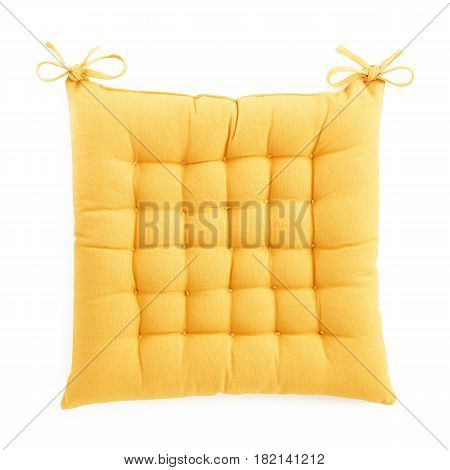Yellow Chair Cushion Isolated On White Background. Yellow Pillow Isolated. Clipping Path