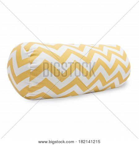 Yellow Chevron Bolster Pillow Isolated on White Background. Clipping Path
