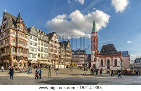 FRANKFURT AM MAIN ,GERMANY - MARCH 30,2017 - View at the Romeberg place in Frankfurt am Main. Frankfurt is the major financial centre of the European continent.