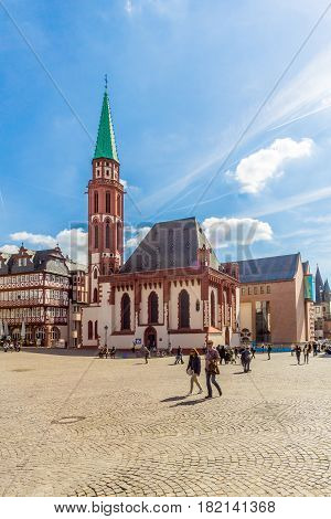 FRANKFURT AM MAIN ,GERMANY - MARCH 30,2017 - Church of Nikolai at the Romerberg place in Frankfurt am Main. Frankfurt is the major financial centre of the European continent.