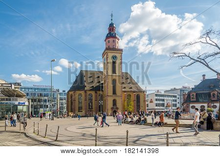 FRANKFURT AM MAIN, GERMANY - MARCH 30,2017 - St.Katherine church in the streets of Frankfurt am Main. Frankfurt is the major financial centre of the European continent.