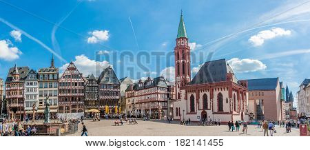 FRANKFURT AM ,MAIN GERMANY - MARCH 30,2017 - Panoramic view at the Romerberg place with Nikolai church in Frankfurt am Main. Frankfurt is the major financial centre of the European continent.