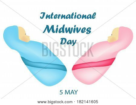 International Midwife Day. Baby boy in blue clothes and a girl in pink clothes. Thoracic. 5 May. Vector illustration.