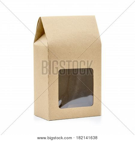 Blank Brown Kraft Paper Bag Isolated On White Background. Packaging Template Mockup Collection. None