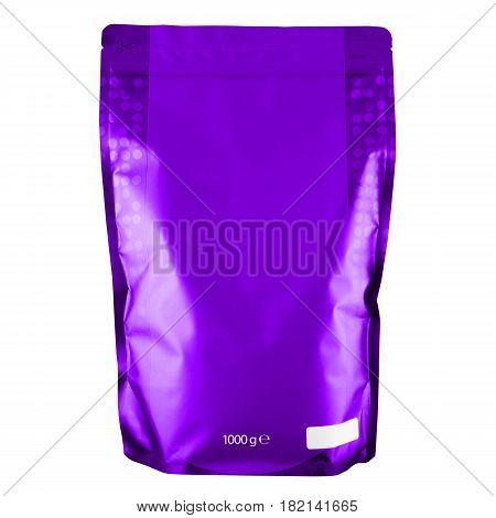 Blank Purple Foil Coffee Bag Or Powder Bag Isolated On White Background. Aluminium Coffee Package. P