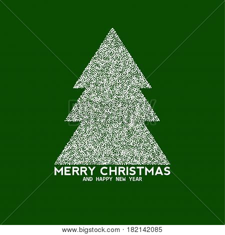 Vector christmas tree made from dots, abstract background