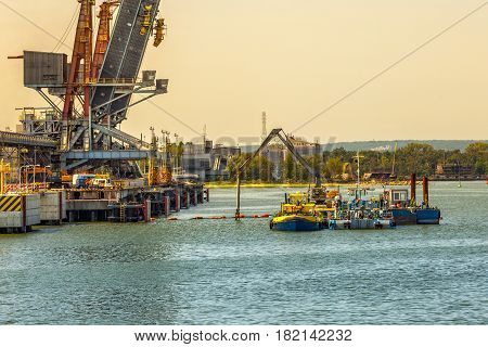 Construction works on the docks of the commercial port of Gdansk Poland.