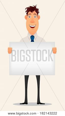 Business man cartoon character. Smiling businessman in office shirt and trousers holding blank sign - stock vector
