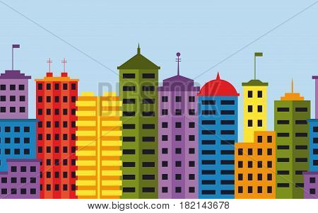 Seamless pattern of modern city with skyscrapers. Cityscape with tall buildings. Urban landscape. EPS10 vector illustration in flat style.