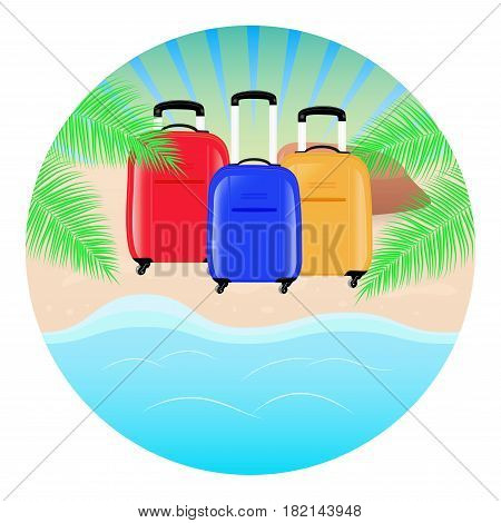 Summer concept round background. Sea landscape beach palm tree and three travel bag. Vector illustration.