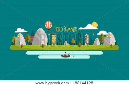 Summer landscape. Vector illustration. Hello summer. Flat style nature with mountains and houses. Airballon river and fisherman. Ecolife. Green summer nature landscape.