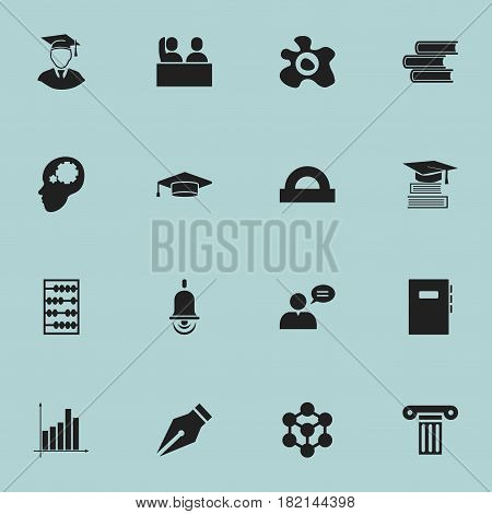 Set Of 16 Editable School Icons. Includes Symbols Such As Library, Molecule, Semicircle Ruler And More. Can Be Used For Web, Mobile, UI And Infographic Design.