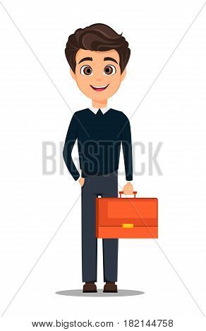 Business man cartoon character. Young handsome smiling businessman in smart casual clothes holding document case - stock vector
