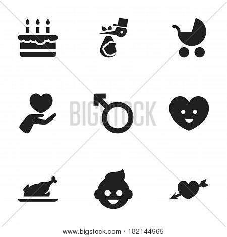 Set Of 9 Editable Folks Icons. Includes Symbols Such As Patisserie, Perambulator, Baby And More. Can Be Used For Web, Mobile, UI And Infographic Design.