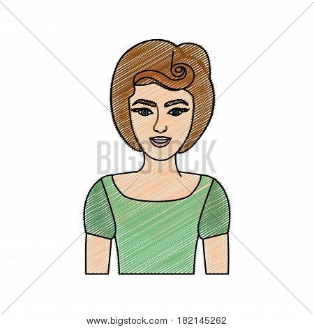 color pencil drawing of half body woman with green t-shirt and pin up swirl hairstyle vector illustration